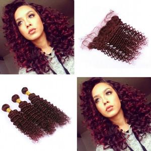 Deep Wave Wine Red 99J Hair 3 paquetes con cierre frontal Borgoña 99j Trama de cabello rizado profundo con oreja a oreja Frontal 13x4
