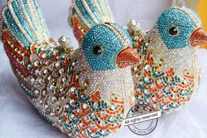 2016 popolari borse da sera di lusso Sparkly donne di cristallo Pochette Colorful Bird modello Ladies cena borse frizioni borsa SC035