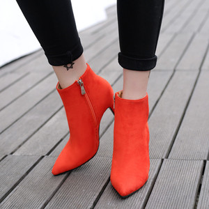 Elegant Ladies Orange Pink Ankle Boots Sexy Boots Women High Heel Pointed Toe Shoes Size 35 to 40