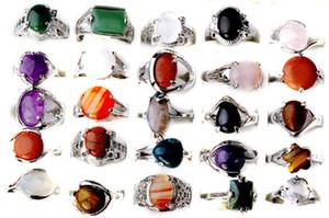 도매 도매 5pcs 혼합 청록색 실버 도금 빈티지 티벳 자연 석재 반지