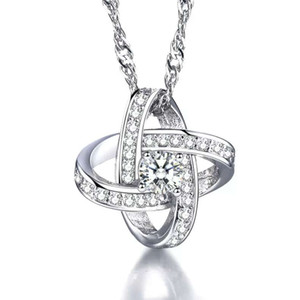 Стерлингового серебра 925 пунктов заявление ожерелья швейцарский Кристалл кулон swarovski элементы cropss узлы подвески этнические старинные