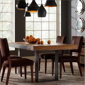 Amerikanische Land Retro Essecke Kombination aus Massivholz, Schmiedeeisen Tisch rechteckigen Tisch Restaurant Tisch