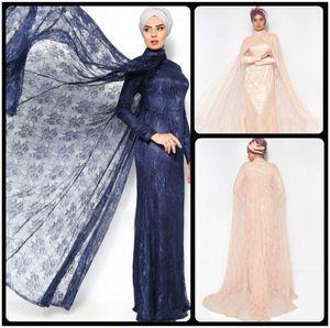 Vestido de noche largo de Noble Lace Long Cloak vestido de Champagne / azul marino musulmán Vestido de noche musulmán de manga larga Abaya