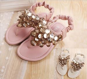 2015 новый продукт Рим ветер Детская обувь бисером блестками девушки сандалии эластичный обуви пряжки два цвета дети принцесса сандалии 5 пара / лот GR207
