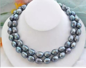 "Noblest Rare Natural 12-15mm Sea del Sud Black Blue Pearl Collana 35 ""Chiusura d'oro"