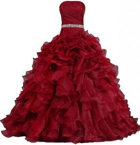 2015 NewSimple Bling Bling negro rojo Quinceanera vestidos vestido de bola con rebordear cristales Lace Up vestido durante 15 años Debutante Downs QS130