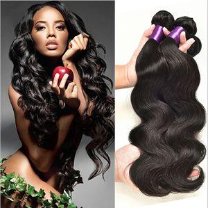 8A Vizon Brezilya Vücut Dalga İnsan Remy Düz Saç Örgüleri 100 g / adet 3 adet / grup Çift Atkı Doğal Siyah Renk İnsan Virgin Saç Uzantıları