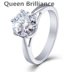 Queen Brilliance 2ct Lab Grown Moissanite Diamond Engagement Anello da donna con platino placcato in platino 925 sterling silver Fine Jewerly q171026