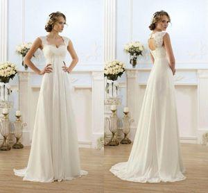 Venda quente Uma Linha De Vestidos de Casamento Elegante Chiffon Formais Noivas Vestidos De Casamento Árabe Baratos Vestidos De Noiva Lace-up Voltar CPS547