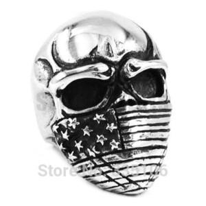Ücretsiz kargo! Amerikan Bayrağı Kafatası Biker Yüzük Paslanmaz Çelik Takı Gotik Infidel Kafatası Motor Biker Erkek Yüzüğü SWR0368