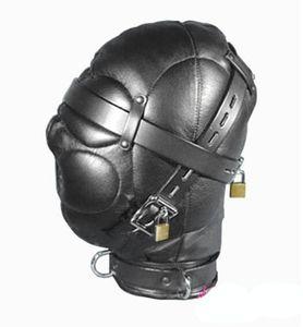 Capot de bondage de privation sensorielle en cuir de haute qualité avec coiffe à boucles verrouillées sex toy