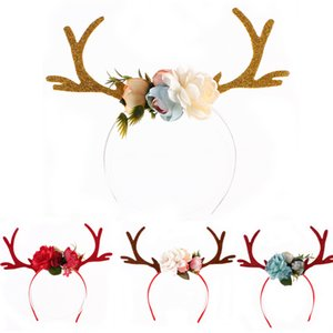 INS Girls Reindeer Hair Sticks With Ear Children DIY Flower Christams Halloween XMAS Headbands Gifts 4 Colors HH7-239