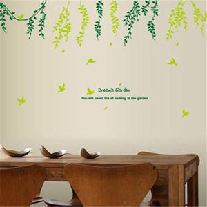 Feuilles vertes de la personnalité créative salon salle de bain stickers muraux imperméable de haute qualité amovible PVC autocollants en gros