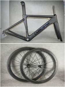 Avec UD BB68 BOB Noir sur Cadres de vélo de route en carbone CARROWTER en carbone + roues en carbone 50mm 20.5mm Novatec A271 Hubs livraison gratuite