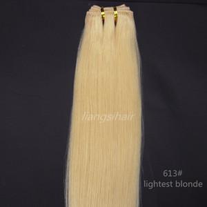 """Brezilyalı Saç Atkı ürünler Sınıf 7A Brezilyalı Hint Perulu insan saç uzatma 100g 1 Adet 24"""" 613 # Hafif Blonde örgü"""