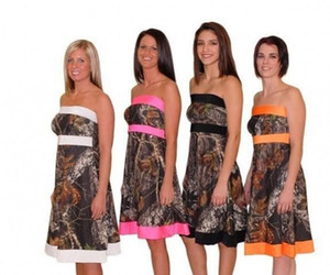 Camuflaje Camo Vestidos de dama de honor Cortos Mujer sin tirantes de la boda Vestidos formales Longitud de la rodilla Formal Mié Mini Bosque Vestido de dama de honor