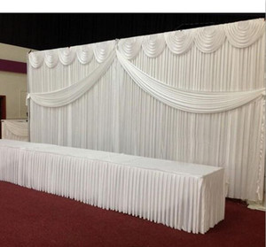 10ft * 20ft Color blanco seda de hielo Boda Telón de fondo Con Swags oro drape Prendas de novia de lujo Satén Drape cortina decoración del partido