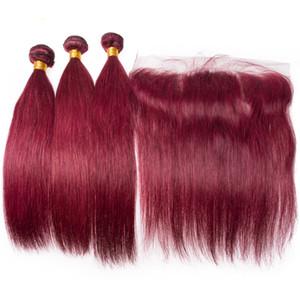 Перуанское красное вино шелковистые прямые человеческие волосы 3Bundles с фронтальными 13x4 Бургундия 99J девственные наращивание волос с верхней фронтальной закрытия