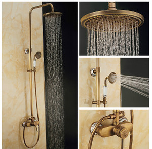 Requintado Antique Brass Shower Faucet Set Rain Shower Mixer Único Handle