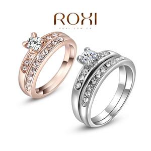 015 2015 nouveau ROXI Délicat Fashion Platinum / plaqué or Shinning Fashion Wedding Set Bagues Double anneau