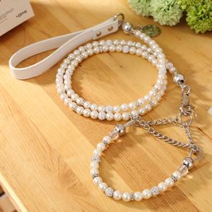 [Moccapet] New Silver Pearl Hundehalsband-Set Hundehalsband Hundeleine Haustierbedarf Hundehalsbänder Für kleine Hunde