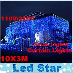 RGB 10 M x 3 M Led Perde Işık Açık Noel Dize Peri Işıklar Düğün Arka Parti Top Otel Dekorasyon gösterir 220 V 110 V