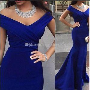 Royal Blue Evening Vestidos de fiesta sin espalda Vestidos de fiesta formales Vestido de ocasión 2016 Sirena con hombros descubiertos Celebrity Arabic Dubai