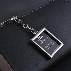 Photo Frame Round Heart Ovale a forma di rombo in lega di metallo portachiavi portachiavi portachiavi coppie regalo di affari portachiavi