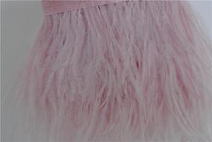 Spedizione gratuita 10 yards rosa chiaro piume di struzzo taglio frangia piuma su intestazione in raso 5-6 pollici in larghezza per la decorazione del vestito
