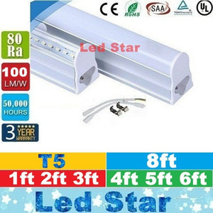 T5 llevó la luz de los tubos fluorescentes 1ft 2ft 3ft 4ft 5ft 6ft 8ft Led tubos fluorescentes luz AC 110-240V