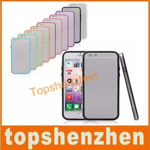 TPU Tampon Çerçeve Metal Düğme Kılıfı iphone 6 6g 4.7 inç Perakende Paketi Ile 10 Şeker renkler Yumuşak Silikon Kılıf Kapak Freeshipping
