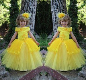 Carino Brillante giallo 2021 Girls Girls Abiti per abiti da sposa in tulle in tulle con perline di applique in pizzo Bambini Bambine Pageant Party Abiti da festa