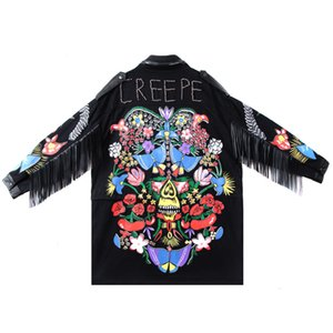 Sherhure Frauen Jacke Mantel Tassles Sleeve Blume Stickerei Perlen Punk Street Frauen Bomber Mäntel Casaco Feminino Frauen Jacken