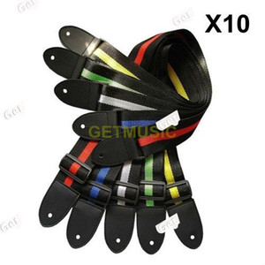 10pcs lot Affordable And Durable Nylon + Leather Guitar Strap Belt Accessory Random Colour MU0628