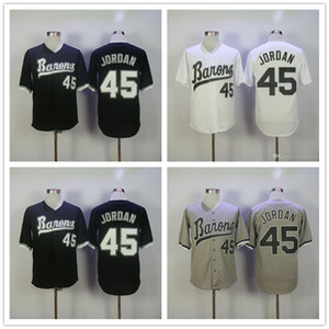 Дешевые Мужские Бирмингемские Бароны # 45 Майкл МДж Белый Ретро пуловер серая дорога черный винтаж сшитые Чикагские бейсбольные майки 4XL