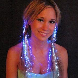 10 stücke Luminous Leuchten LED Haarverlängerung Flash Braid Party mädchen Haar Glow von fiber optic Für party weihnachten Nachtlichter
