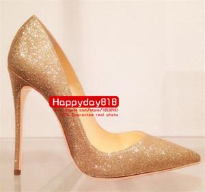 Moda feminina sapatos de ouro giltter saltos altos bombas de saltos finos sapatos de casamento vestido de sapatos de 120mm