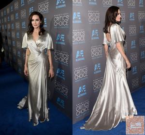 Nueva llegada Sexy Angeline Jolie Celebrity Dress Alfombra roja Sin respaldo Gasa plateada Vestido largo de fiesta Vestido formal Vestidos de noche Tallas grandes