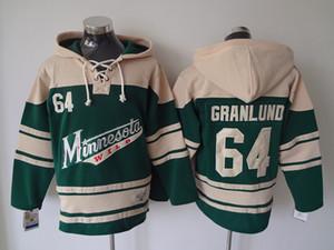 Alta qualità ! Minnesota Wild Old Time Hockey Jerseys 64 Mikael Granlund Red Green con cappuccio Pullover Felpe Giacca invernale