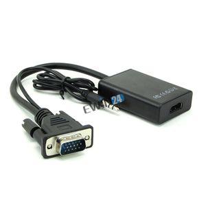 Nuovo adattatore VGA da maschio a HDMI 1080P HD + Audio TV AV Adattatore per cavo video HDTV