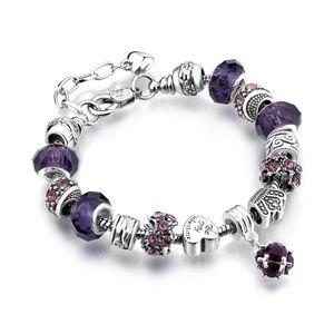 11 colori moda 925 sterling silver margherite vetro murano cristallo europeo perline fascino adatto braccialetti di fascino bracciali stile 20 + 3 cm aa02