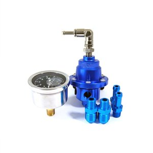 Superior Adjustable Fuel Pressure Regulator With Filled Oil Gauge Aluminum Blue