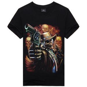 Hot Verão Engraçado 3d Impresso Crânio Gun T Shirt Dos Homens de Algodão dos homens Desgaste Ocasional Famosa Marca Homens Camisa Hip Hop camiseta