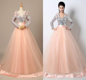 Two Piece 2018 Sexy Stunning Vestidos Mariam Omaira Long Sleeve Sequins Tulle Sequins Top Tulle Skirt Celebrity Prom Evening Dresses