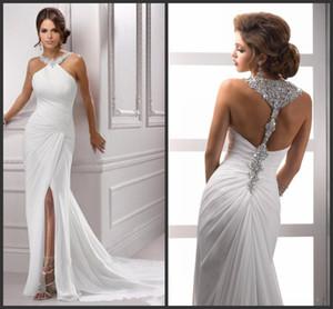 Nuovo frizzante Halter Crystal Beaking Dresses Abiti da sera Slitta senza maniche Sirena White Long Chiffon Formale Prom Party Gown 138