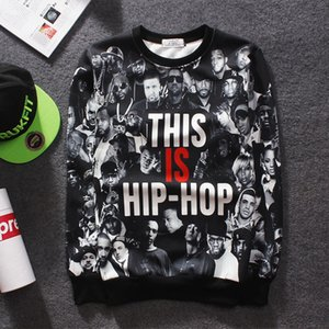 Wholesale-Tide  Men's Hip Hop Sweatshirt Letter THIS IS HIP HOP Printed Crewneck Streetwear Harajuku style hiphop street Hoodies