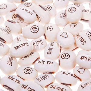 50 unids Mini Magia Semillas de Frijol Blanco Planta de Regalo Mensaje Creciente Palabra Amor Oficina Hogar # 57674