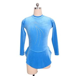 Full Sleeve Baby Blue Skating Dress Training 2017 Collection Beaded Professional Design Competition Dress Wholesale Price
