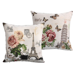 2pcs lot France Eiffel Tower Paris Vintage Style Sofa Cushion Covers Knitted Car Throw Pillow Case Square 45cm*45cm Bulk Price