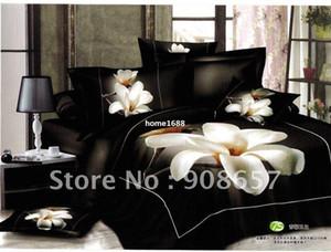 100 %면 흰색 난초 꽃 검은 배경에 꽃 패턴 인쇄 이불 이불 시트와 가방 세트 4PC에 퀸 침대 커버